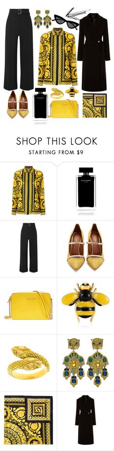 """Golden lady"" by elisalunardelli ❤ liked on Polyvore featuring Versace, Narciso Rodriguez, Veronica Beard, Malone Souliers, Michael Kors, Gucci, Karen Millen and Le Specs"