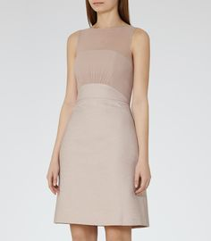 Womens Ice Rose Jacquard-detail Dress - Reiss Darby