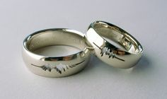 "A couple had their wedding rings engraved with a waveform of their own voices saying ""I do.""    The rings are made by designer Sakura Koshimizu"