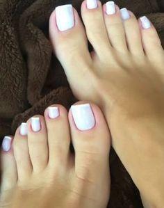just gorgeous feet. Toe Nails White, Pretty Toe Nails, Pretty Toes, Long Toenails, French Pedicure, Feet Nails, Beautiful Toes, Toe Nail Designs, Creative Nails