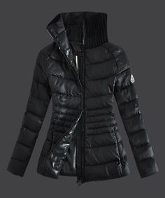 2013 Moncler Down Jackets For Womens Zip Stand Collar Black [2781854] - £199.03 :