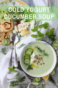 Yogurt Cucumber Soup This is soup is cold, fresh, and refreshing. It's ridiculously easy to make and ready in minutes. Who says you can't have soup in the summertime? Unique Recipes, Great Recipes, Soup Recipes, Favorite Recipes, Healthy Recipes, Recipe Ideas, Easy Recipes, Dessert Recipes, Blender Recipes