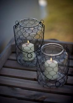 Hanging Jars with Chicken Wire and Candles
