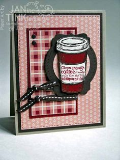Greeting Card - Coffee for Birthday or Thinking of You, in Brown, Dark Red, Peach, Kraft for Friend, Relative, Coworker, Boss on Etsy, $5.95