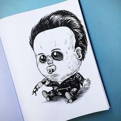 Artista cria ilustrações de personagens de filmes de terror como bebês super…