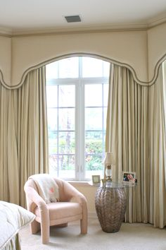 shaped, banded upholstered cornice over traversing drapery in bay window