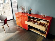 This sideboard by Karkula is made of solid wood with colored glass mounted on top. I love the color! Team 7, Solid Wood Furniture, Furniture Design, Wood Surface, Colored Glass, Sideboard, Natural Wood, Shoe Rack, Just In Case