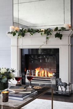 I love this fireplace frame. It is very hefty. I would probably use a less contemporary tile with it. Fireplace Frame, Farmhouse Fireplace, Fireplace Design, Fireplace Ideas, Home Design Decor, House Design, Home Decor, Classic Fireplace, Contemporary Tile