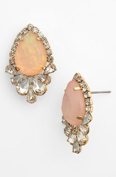 Sparkly pink teardrop stud earrings for prom.