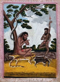 Two yogis, one meditating, the other performing a fire ritual. Gouache drawing. | Wellcome Collection