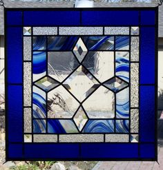 Beveled Blue Stained Glass Window by DebsGlassArt on Etsy.com