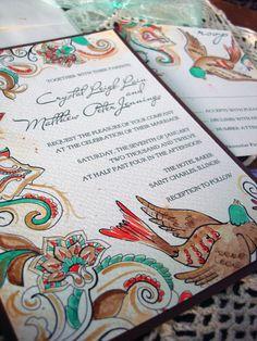 paisley theme wedding | Paisley Bird Wedding Invitations brown and aqua blue hand painted ...