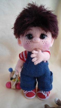 He's not crocheted like the other little dolls I pin but he's too cute! I'm sure I can crochet an inspirational doll. Crochet Toys Patterns, Amigurumi Patterns, Stuffed Toys Patterns, Amigurumi Doll, Doll Patterns, Knitting Patterns, Unique Crochet, Cute Crochet, Knitted Dolls