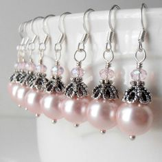 Bridesmaid Jewelry Pink Pearl Dangle Earrings in by FiveLittleGems, $14.00