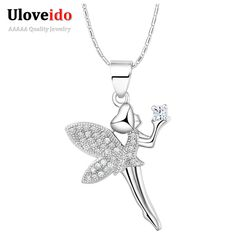 New Fashion China Silver Zirconia Dancing Angel Necklace with Pendant Foreign Jewelry Suspension Christmas Girl Gift N1276