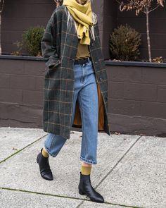 "11.7k Likes, 81 Comments - OAK + FORT (@oakandfort) on Instagram: ""Green coat - holiday essential #BeOakandFort Coat H053 T-shirt H471 Denim 1720 Scarf H058 Socks…"""