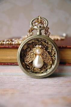 steampunk queen bee pocket watch necklace