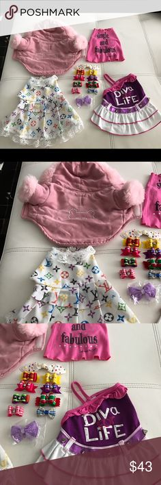 Great Christmas bundle for dogs Size XS, S. The clothes is used, but great conditions. The grooming accessories bows and clips. Price is firm. Cheeper on ♍️ercari. Other