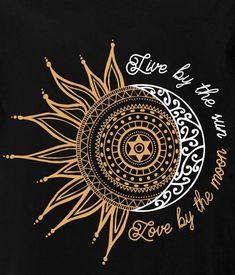 """Illustration Moon """"Live by the sun, love the moon"""" Illustration Mond """"Lebe von der Sonne, liebe den Mond"""" Mandala Tattoo, Mandala Art, Sun Mandala, Art Hippie, Tattoo Mond, Moon Illustration, My Sun And Stars, Sun Moon Stars, Moon Art"""