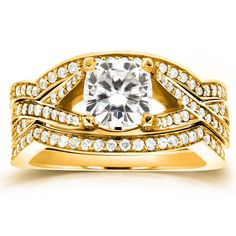 Annello by Kobelli 14k Yellow Gold Cushion-cut Moissanite and 3/5ct TDW Diamond 3-piece Bridal Set R (Size 5.5), Women's (solid)