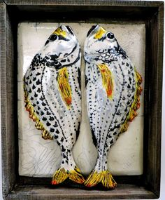 YELLOWFIN SEA BREAM FISH || Raku fired with lustres, displayed in a handmade wood box distressed and lime waxed || Designed to give autheticity of market stalls of old || Made for wall placement || Exhibited in Liberty, London || Price On Enquiry || #CERAMICS #ART #FISH