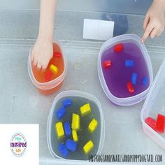 Color Mixing with Ice Cubes and Water 3 Sensory Activities, Summer Activities, Science For Kids, Summer Crafts, Creative Art, Color Mixing, Water 3, Activity Ideas, Ice Cubes