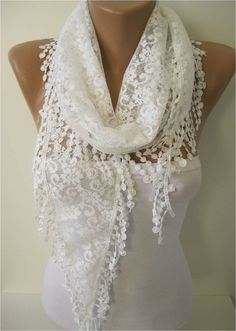 Lace scarf women scarves  guipure   fashion scarf by MebaDesign