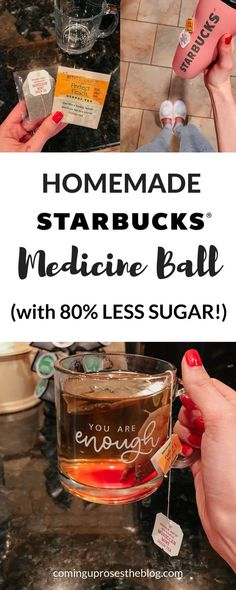 Homemade Starbucks Medicine Ball Tea Recipe (with LESS SUGAR) Love Starbucks Medicine Ball but hate the sugar content? Starbucks Tea, Starbucks Recipes, Tea Recipes, Copycat Recipes, Starbucks Medicine Ball Recipe, Secret Menu, Balls Recipe, Yummy Drinks, Drinking Tea