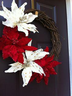 Poinsettia Grapevine Christmas Wreath