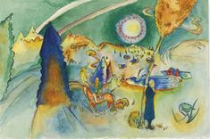 Aquarell für Poul Bjerre by Wassily Kandinsky Kandinsky Art, Wassily Kandinsky Paintings, Stockholm, Blue Rider, India Ink, Cool Posters, Art Posters, Abstract Expressionism, Landscape Paintings
