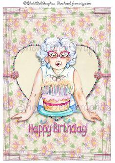"""Geburtstagskarte mit Kerzen & Kuchen """"Candle-litis"""" A4 Bogen (PU,S4H) von SholaWebGraphics auf Etsy  Pin10PRO für 10 Prozent Rabatt"""