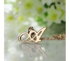 Madonna Style Initial Necklace in Solid Rose Gold