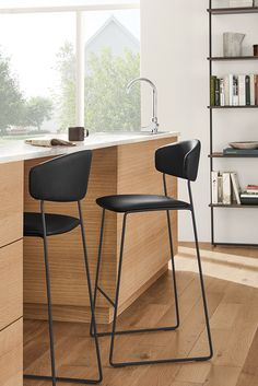 Room & Board - Wolfgang Counter Stool in Synthetic Leather - Modern Counter & Bar Stools - Modern Dining Room & Kitchen Furniture Modern Counter Stools, Leather Counter Stools, Kitchen Counter Stools, Kitchen Chairs, Kitchen Furniture, Cool Bar Stools, Counter Height Chairs, Kitchen Nook, Office Furniture