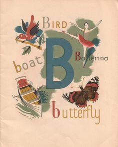 A child's alphabet by Grace Gabler, 1945 · Miss Moss Alphabet Songs, Alphabet Cards, Alphabet Print, Alphabet Book, Alphabet And Numbers, Alphabet Letters, Vintage Labels, Vintage Cards, Vintage Stuff