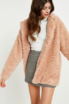 Shop Light Before Dark Pink Teddy Hooded Jacket at Urban Outfitters today. Urban Outfitters, Pink Teddy Coat, Sixth Form Outfits, Bomber Jacket Winter, Winter Looks, Winter Style, Winter Coats Women, Hooded Jacket, Casual Outfits