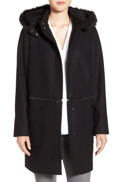 Main Image - Zac Zac Posen Convertible Faux Fur Trim Wool Blend Coat