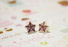 These bright + blingy little star earrings are ready to wear! Individually handmade in L.A. by Cara Long.