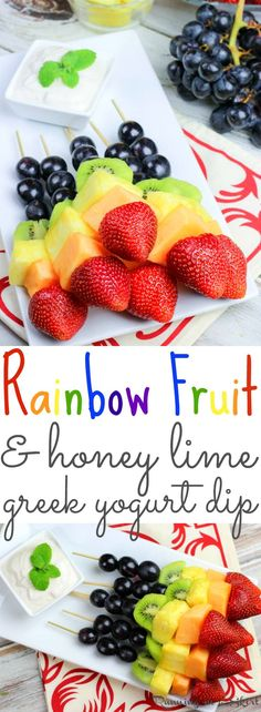 Rainbow Fruit Skewers recipe with Healthy Greek Yogurt Dip- the perfect fun kabobs snack ideas for a summer parties or St. Includes two dips desserts- Honey Almond Dip and Honey Lime Dip. / Running in a Skirt Skewer Recipes, Fruit Salad Recipes, Appetizer Recipes, Vegetarian Appetizers, Party Recipes, Snack Recipes, Rainbow Fruit Skewers, Greek Yogurt Dips, Best Fruits