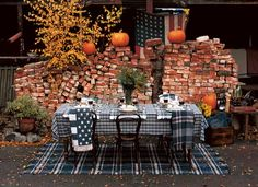 a fall gathering in Sweet Paul by du Bois. Fall Table, Thanksgiving Table, Fresco, Lexington Home, Sweet Paul, Outdoor Furniture Sets, Outdoor Decor, Outdoor Spaces, Pumpkin Decorating