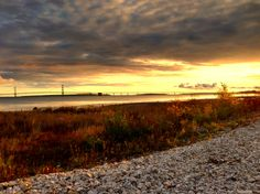 Sunrise over the Mackinac Straights with the Mackinac Bridge. Taken with TrueHDR for iPhone in Mackinaw, Michigan October 2012