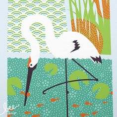 grue blanche limited edition print par beethings sur Etsy