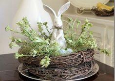 compo de Pâques nid en branches de saule