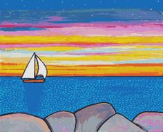 Modern cross stitch kit by Shelagh Duffett 'Sunset by GeckoRouge, #crossstitch #boat
