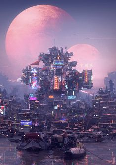 Cyberpunk container city on the lake concept art environment design inspiration, futuristic science fiction fantasy city landscape art matte painting inspiration ideas for games