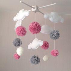 Baby mobile Kinderbett-Mobile Wolken und Pom Poms Mobile