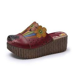 Socofy Original Handmade Slippers Slip On Floral Platform Retro Sandals Online - NewChic