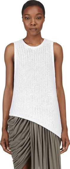 Helmut Lang - White Cotton Knit Tucked Cord Tank Top