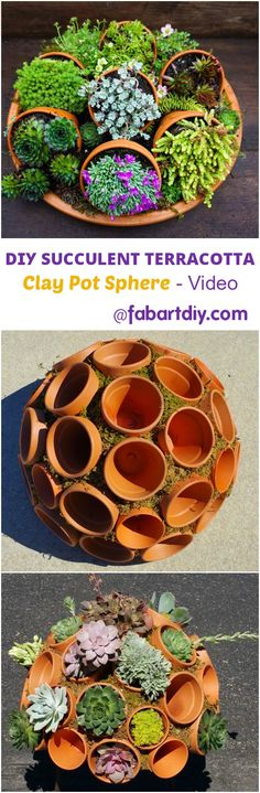 This Brilliant Succulent Clay Pot Planter Sphere Adds Whimsy To Your Garden: DIY Succulent Clay Pot Planter Sphere Garden Art. #Gardening, => http://www.fabartdiy.com/diy-succulent-clay-pot-planter-sphere-garden-art/