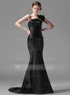 Evening Dresses - $119.99 - Mermaid One-Shoulder Sweep Train Charmeuse Evening Dress With Ruffle Beading (017002536) http://jjshouse.com/Mermaid-One-Shoulder-Sweep-Train-Charmeuse-Evening-Dress-With-Ruffle-Beading-017002536-g2536