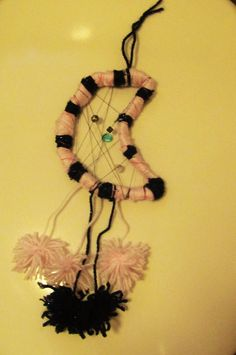 Pink and black pom pom Dreamcatcher by Ruth O'Hagan Make All, How To Make, Christmas Challenge, Dreamcatchers, Diy Gifts, Crochet Necklace, Christmas Gifts, Pink, Black